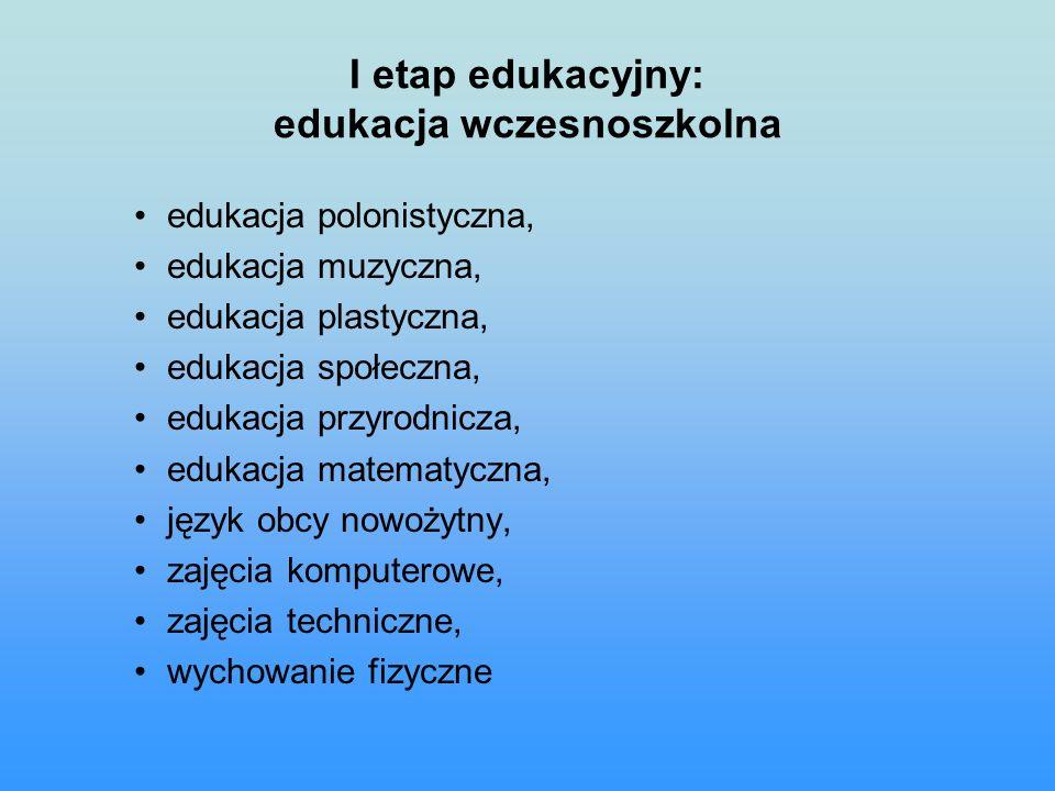 I etap edukacyjny: edukacja wczesnoszkolna edukacja polonistyczna, edukacja muzyczna, edukacja plastyczna, edukacja społeczna, edukacja przyrodnicza, edukacja matematyczna, język obcy nowożytny, zajęcia komputerowe, zajęcia techniczne, wychowanie fizyczne
