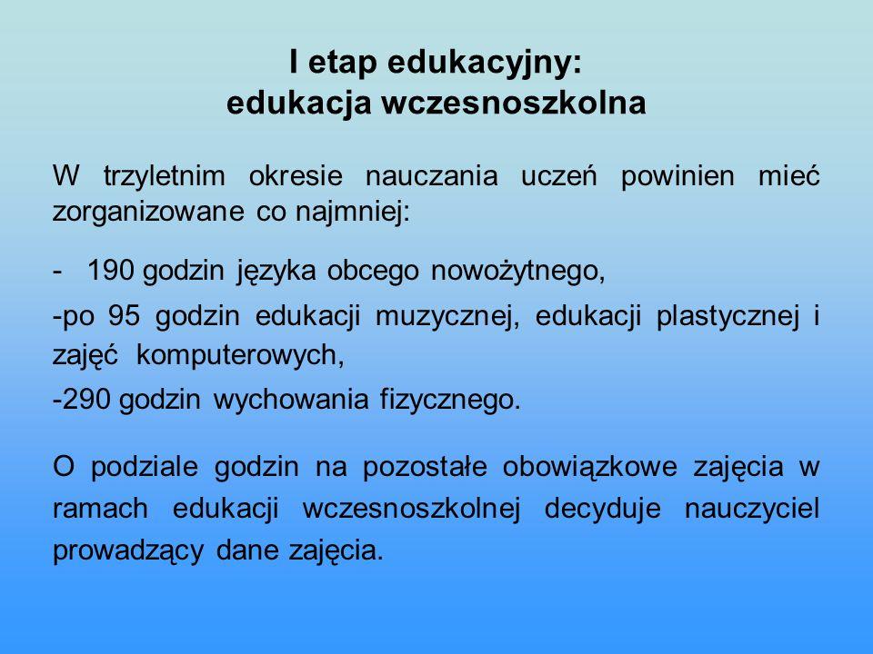 I etap edukacyjny: edukacja wczesnoszkolna W trzyletnim okresie nauczania uczeń powinien mieć zorganizowane co najmniej: - 190 godzin języka obcego nowożytnego, -po 95 godzin edukacji muzycznej, edukacji plastycznej i zajęć komputerowych, -290 godzin wychowania fizycznego.