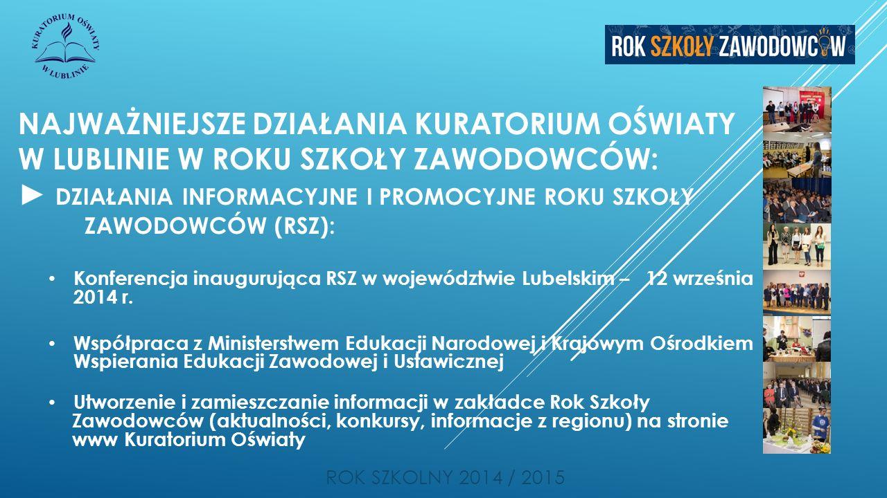 NAJWAŻNIEJSZE DZIAŁANIA KURATORIUM OŚWIATY W LUBLINIE W ROKU SZKOŁY ZAWODOWCÓW: ► DZIAŁANIA INFORMACYJNE I PROMOCYJNE ROKU SZKOŁY ZAWODOWCÓW (RSZ): ROK SZKOLNY 2014 / 2015 Konferencja inaugurująca RSZ w województwie Lubelskim – 12 września 2014 r.