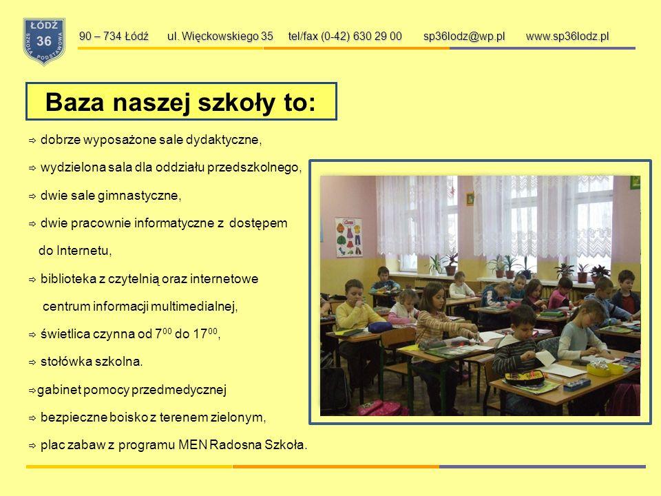 Szkoła Podstawowa nr 36 w Łodzi: 90 – 734 Łódź ul. Więckowskiego 35 tel/fax (42) 630 29 00 sp36lodz@wp.pl www.sp36lodz.pl  dobrze przygotowuje ucznió