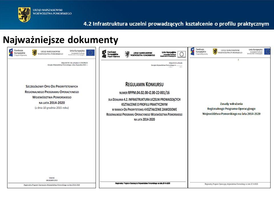 4.2 Infrastruktura uczelni prowadzących kształcenie o profilu praktycznym Najważniejsze dokumenty