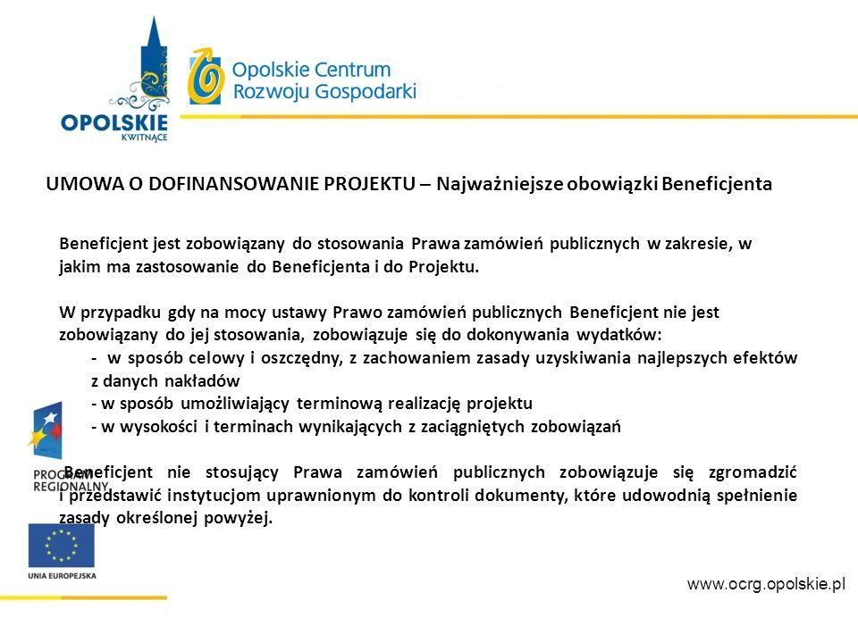 www.ocrg.opolskie.pl Beneficjent nie stosujący Ustawy, zgodnie z dokumentem pn.