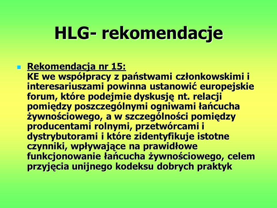 HLG- rekomendacje Rekomendacja nr 15: KE we współpracy z państwami członkowskimi i interesariuszami powinna ustanowić europejskie forum, które podejmie dyskusję nt.