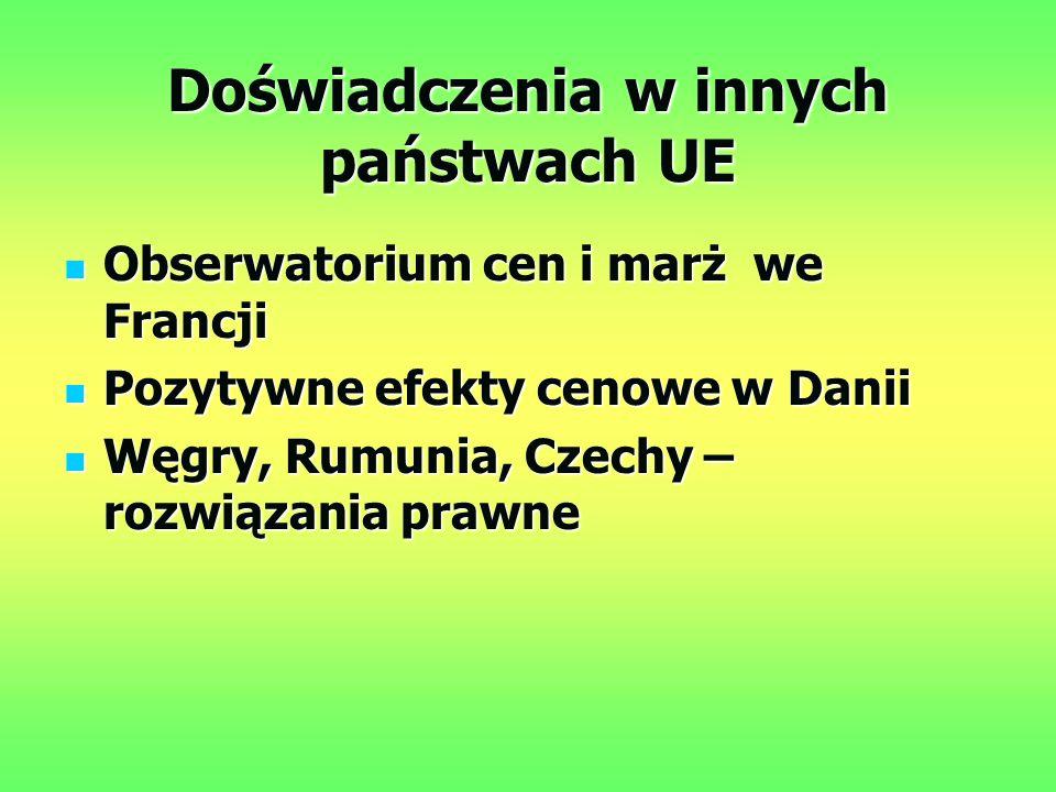 Doświadczenia w innych państwach UE Obserwatorium cen i marż we Francji Obserwatorium cen i marż we Francji Pozytywne efekty cenowe w Danii Pozytywne efekty cenowe w Danii Węgry, Rumunia, Czechy – rozwiązania prawne Węgry, Rumunia, Czechy – rozwiązania prawne