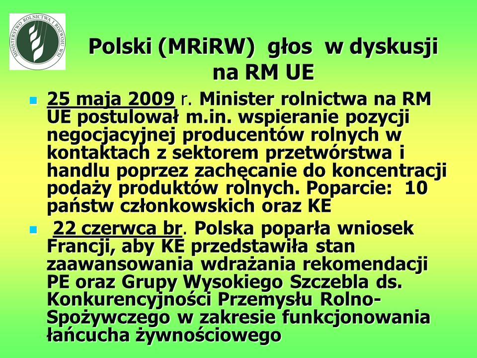 Polski (MRiRW) głos w dyskusji na RM UE 25 maja 2009 r.
