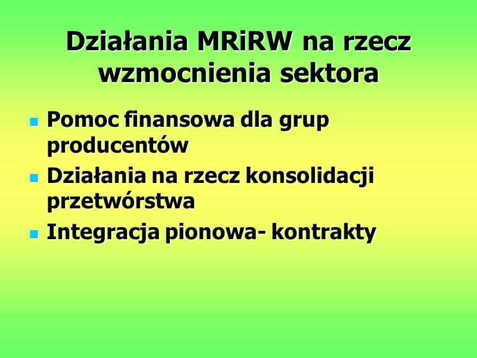 Działania MRiRW na rzecz wzmocnienia sektora Pomoc finansowa dla grup producentów Pomoc finansowa dla grup producentów Działania na rzecz konsolidacji przetwórstwa Działania na rzecz konsolidacji przetwórstwa Integracja pionowa- kontrakty Integracja pionowa- kontrakty