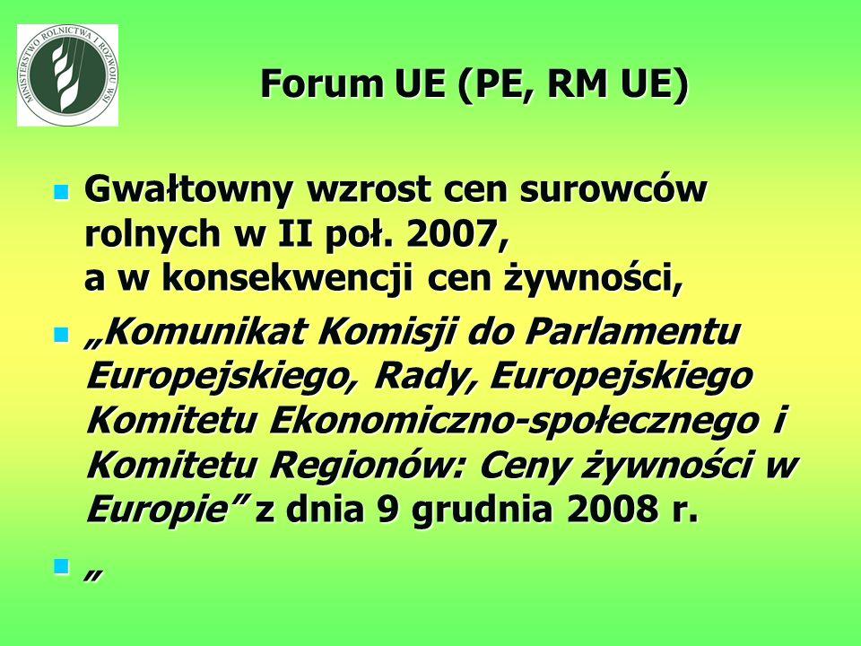 Forum UE (PE, RM UE) Gwałtowny wzrost cen surowców rolnych w II poł.