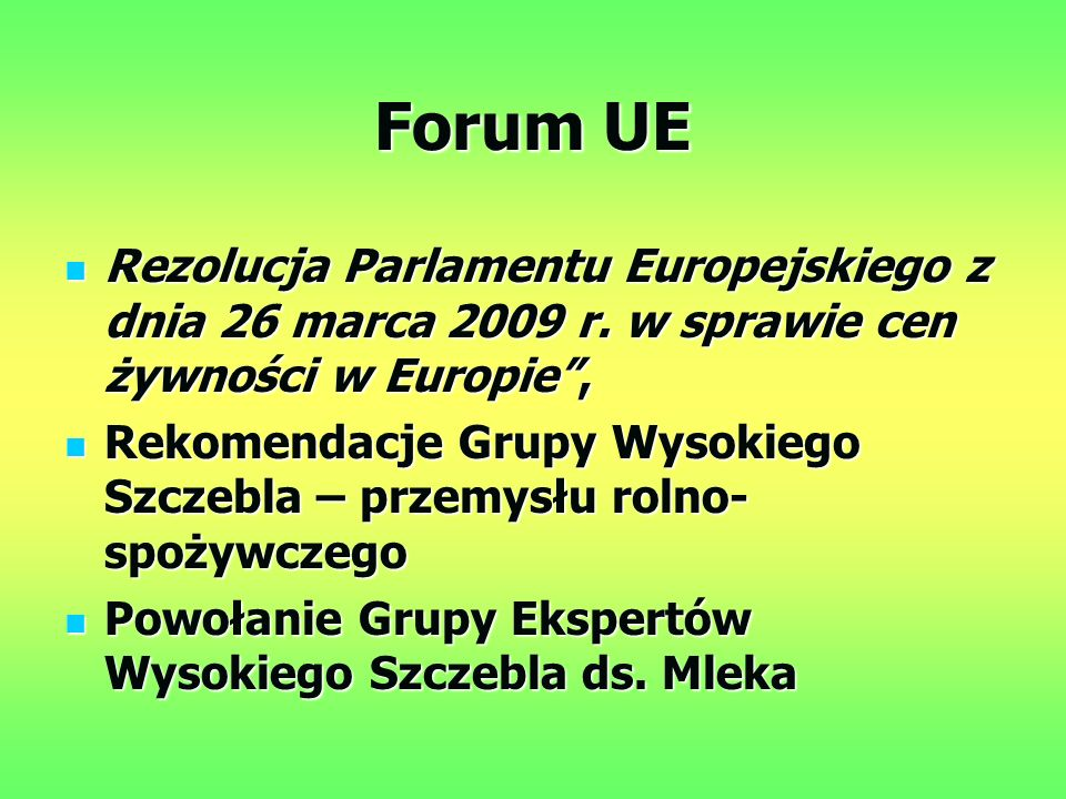 Forum UE Rezolucja Parlamentu Europejskiego z dnia 26 marca 2009 r.