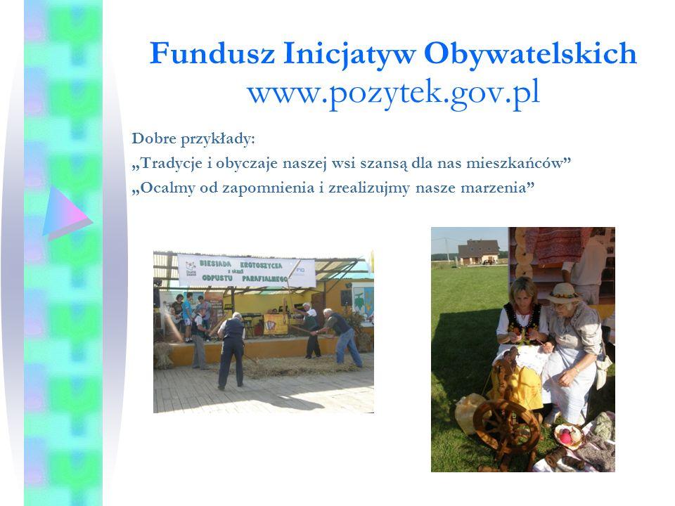 """Fundusz Inicjatyw Obywatelskich www.pozytek.gov.pl Dobre przykłady: """"Tradycje i obyczaje naszej wsi szansą dla nas mieszkańców """"Ocalmy od zapomnienia i zrealizujmy nasze marzenia"""