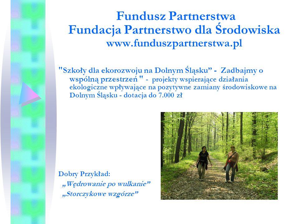 """Fundusz Partnerstwa Fundacja Partnerstwo dla Środowiska www.funduszpartnerstwa.pl Szkoły dla ekorozwoju na Dolnym Śląsku - Zadbajmy o wspólną przestrzeń - projekty wspierające działania ekologiczne wpływające na pozytywne zamiany środowiskowe na Dolnym Śląsku - dotacja do 7.000 zł Dobry Przykład: """"Wędrowanie po wulkanie """"Storczykowe wzgórze"""