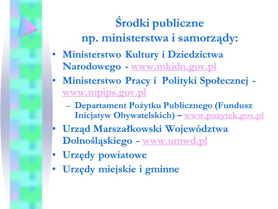 Środki publiczne np.