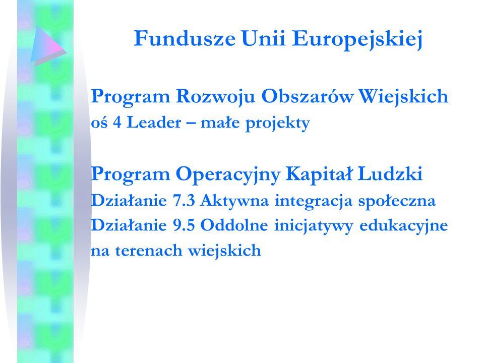 Fundusze Unii Europejskiej Program Rozwoju Obszarów Wiejskich oś 4 Leader – małe projekty Program Operacyjny Kapitał Ludzki Działanie 7.3 Aktywna integracja społeczna Działanie 9.5 Oddolne inicjatywy edukacyjne na terenach wiejskich