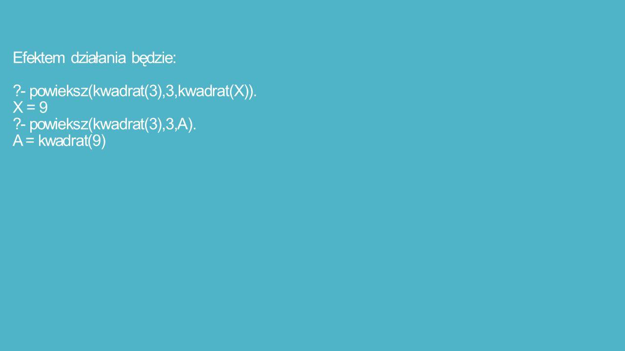 Efektem działania będzie: - powieksz(kwadrat(3),3,kwadrat(X)).