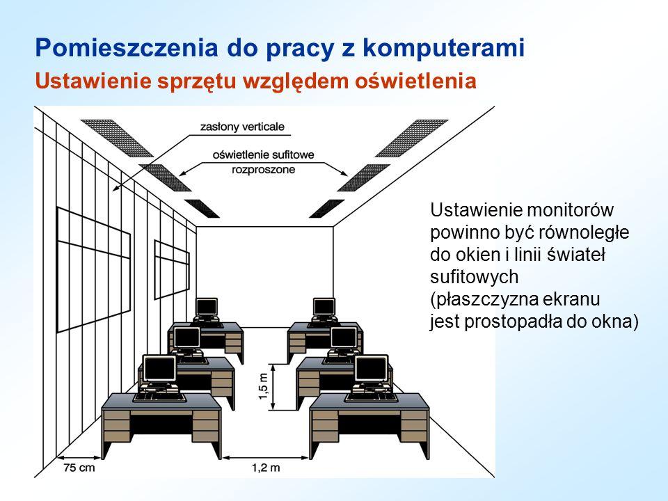 Ustawienie monitorów powinno być równoległe do okien i linii świateł sufitowych (płaszczyzna ekranu jest prostopadła do okna) Pomieszczenia do pracy z komputerami Ustawienie sprzętu względem oświetlenia