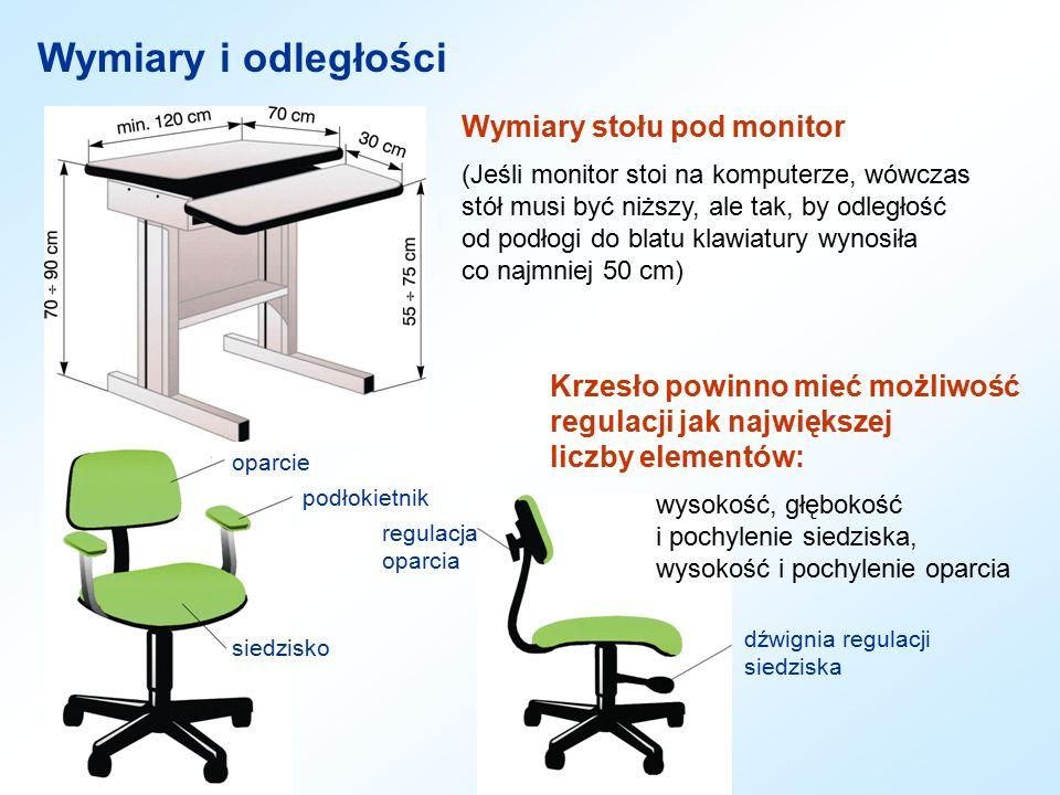 Wymiary i odległości Wymiary stołu pod monitor (Jeśli monitor stoi na komputerze, wówczas stół musi być niższy, ale tak, by odległość od podłogi do bl