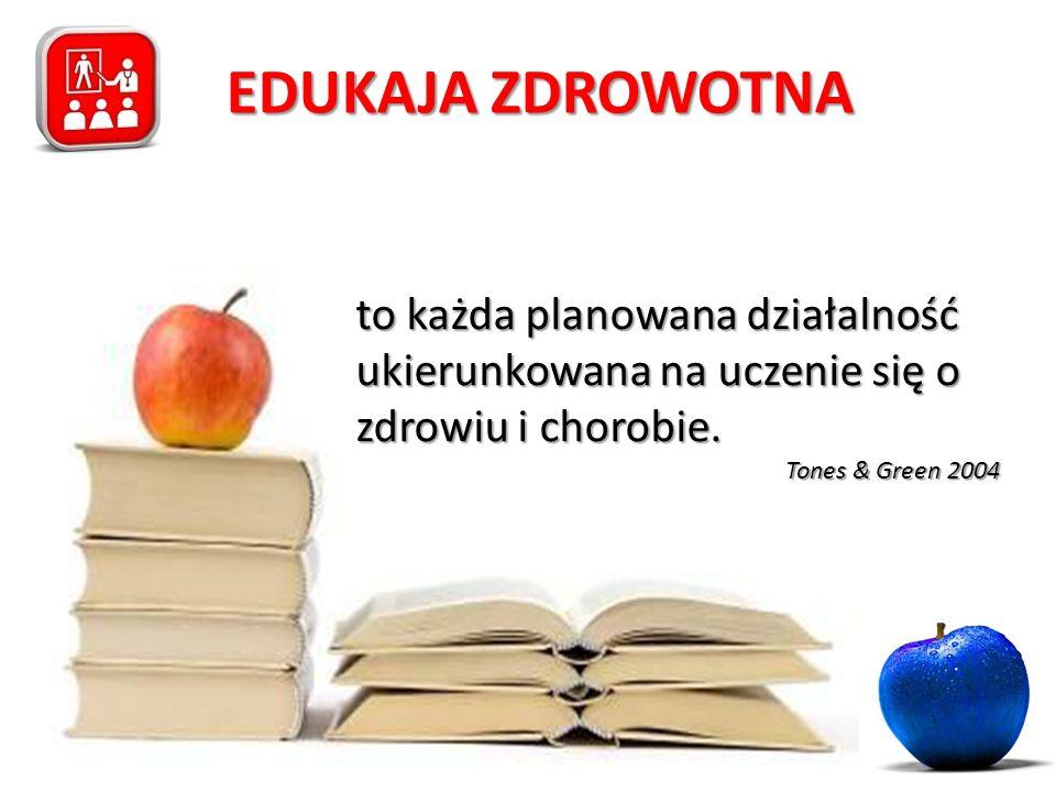 EDUKAJA ZDROWOTNA to każda planowana działalność ukierunkowana na uczenie się o zdrowiu i chorobie. Tones & Green 2004