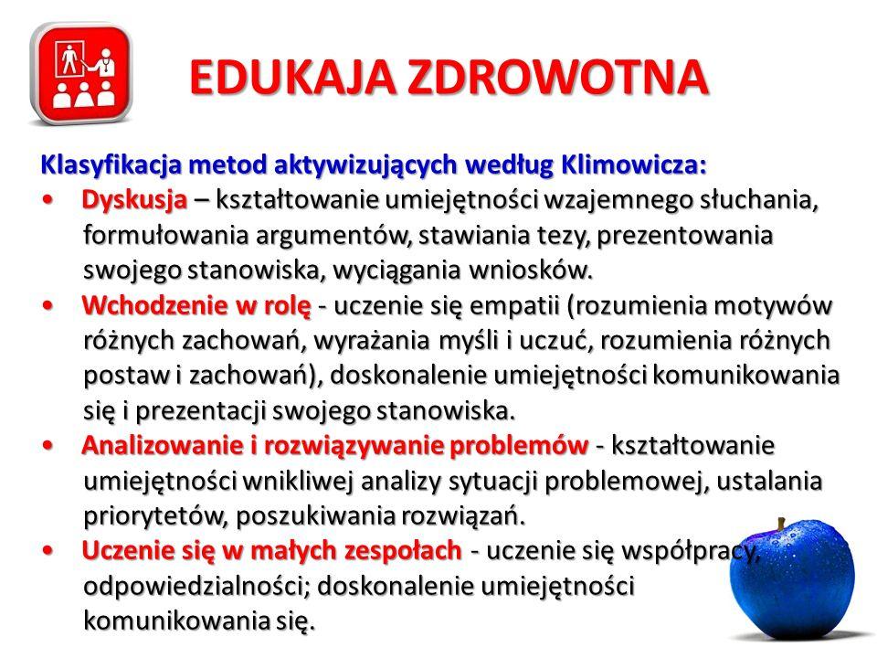 EDUKAJA ZDROWOTNA Klasyfikacja metod aktywizujących według Klimowicza: Dyskusja – kształtowanie umiejętności wzajemnego słuchania, formułowania argume