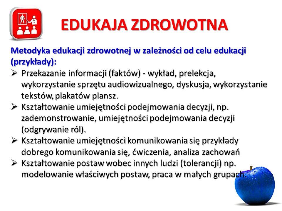 EDUKAJA ZDROWOTNA Metodyka edukacji zdrowotnej w zależności od celu edukacji (przykłady):  Przekazanie informacji (faktów) - wykład, prelekcja, wykor
