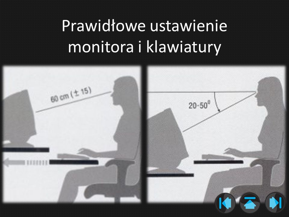Prawidłowe ustawienie monitora i klawiatury