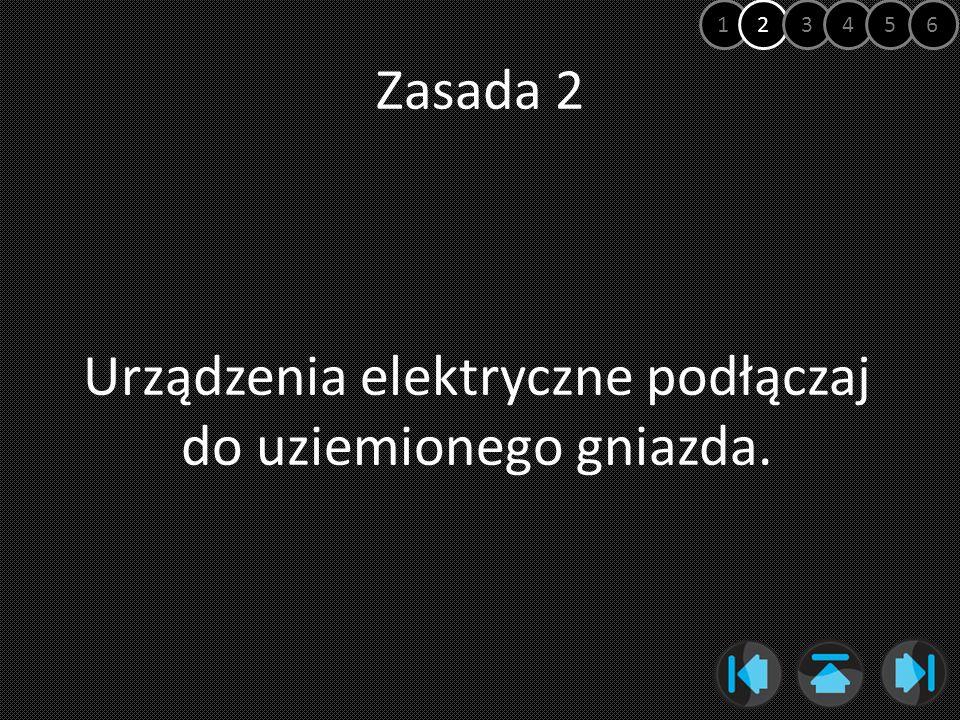 Zasada 2 Urządzenia elektryczne podłączaj do uziemionego gniazda. 123456