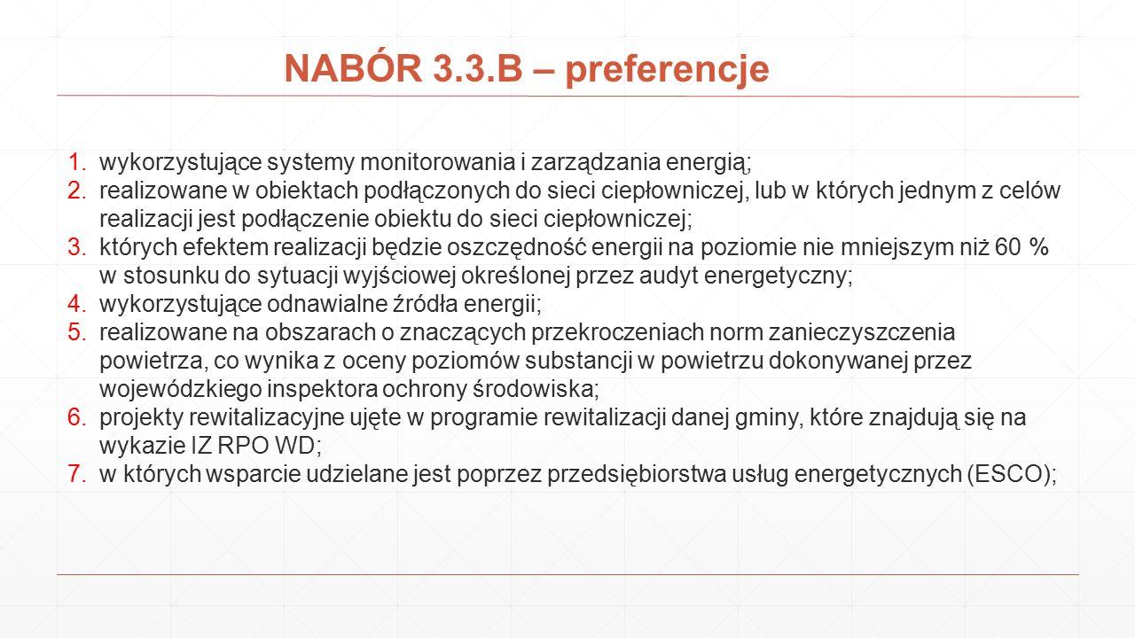 NABÓR 3.3.B – preferencje 1.wykorzystujące systemy monitorowania i zarządzania energią; 2.realizowane w obiektach podłączonych do sieci ciepłowniczej,