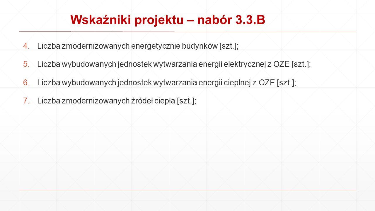 Wskaźniki projektu – nabór 3.3.B 4.Liczba zmodernizowanych energetycznie budynków [szt.]; 5.Liczba wybudowanych jednostek wytwarzania energii elektryc
