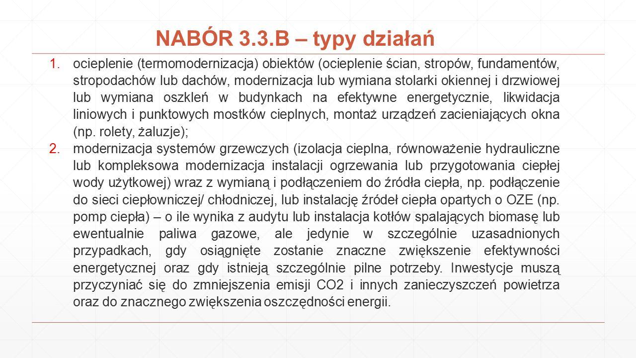 NABÓR 3.3.B – typy działań 1.ocieplenie (termomodernizacja) obiektów (ocieplenie ścian, stropów, fundamentów, stropodachów lub dachów, modernizacja lu