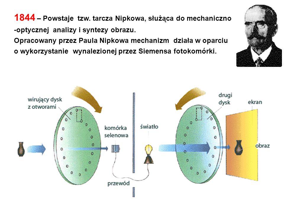 1844 – Powstaje tzw. tarcza Nipkowa, służąca do mechaniczno -optycznej analizy i syntezy obrazu. Opracowany przez Paula Nipkowa mechanizm działa w opa