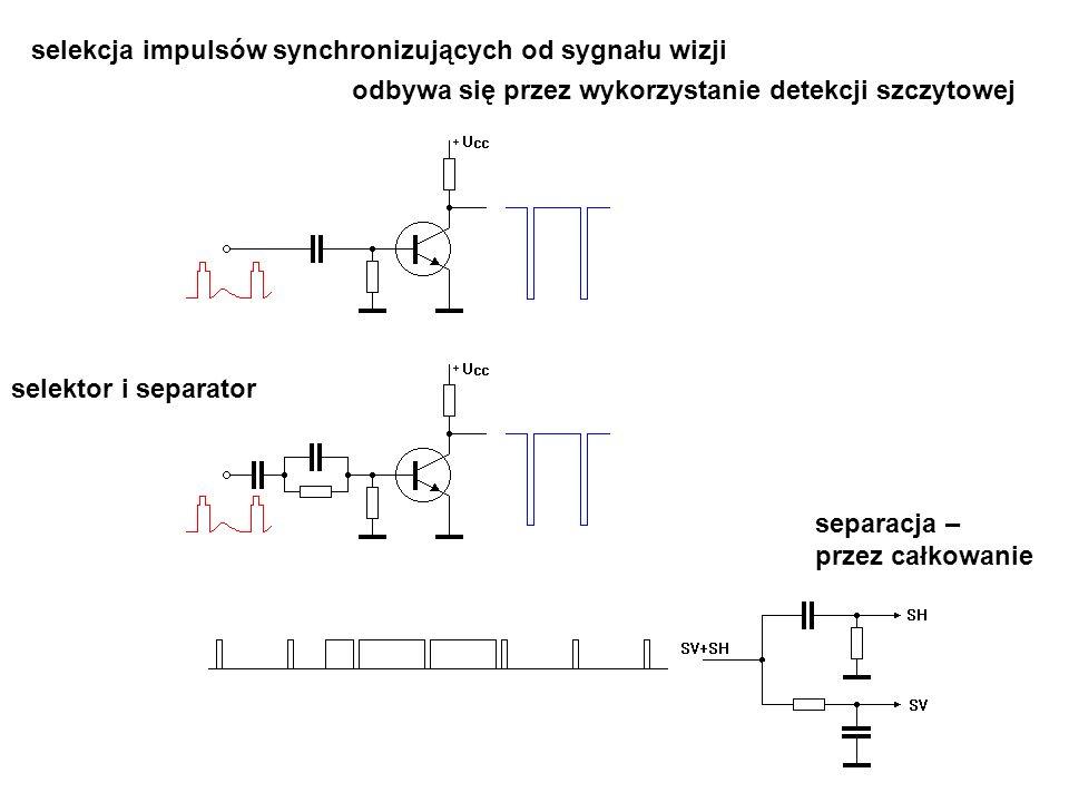 selektor i separator selekcja impulsów synchronizujących od sygnału wizji odbywa się przez wykorzystanie detekcji szczytowej separacja – przez całkowa