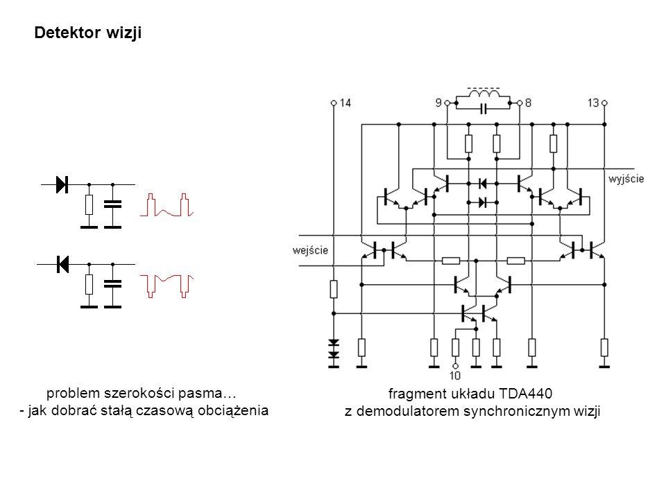 Detektor wizji fragment układu TDA440 z demodulatorem synchronicznym wizji problem szerokości pasma… - jak dobrać stałą czasową obciążenia