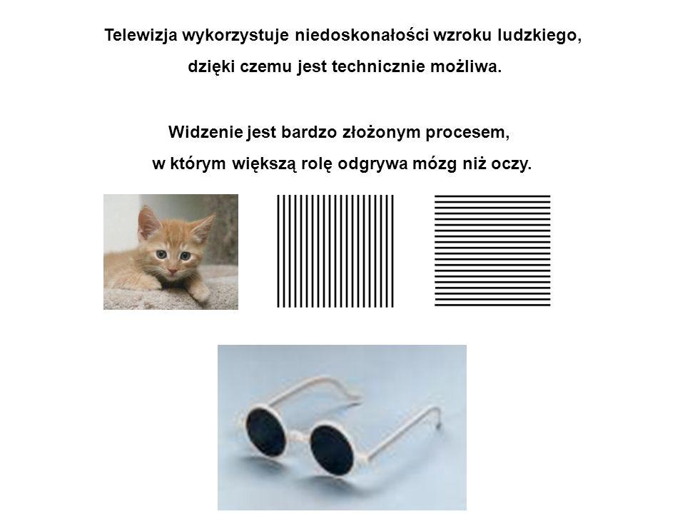 Telewizja wykorzystuje niedoskonałości wzroku ludzkiego, dzięki czemu jest technicznie możliwa.