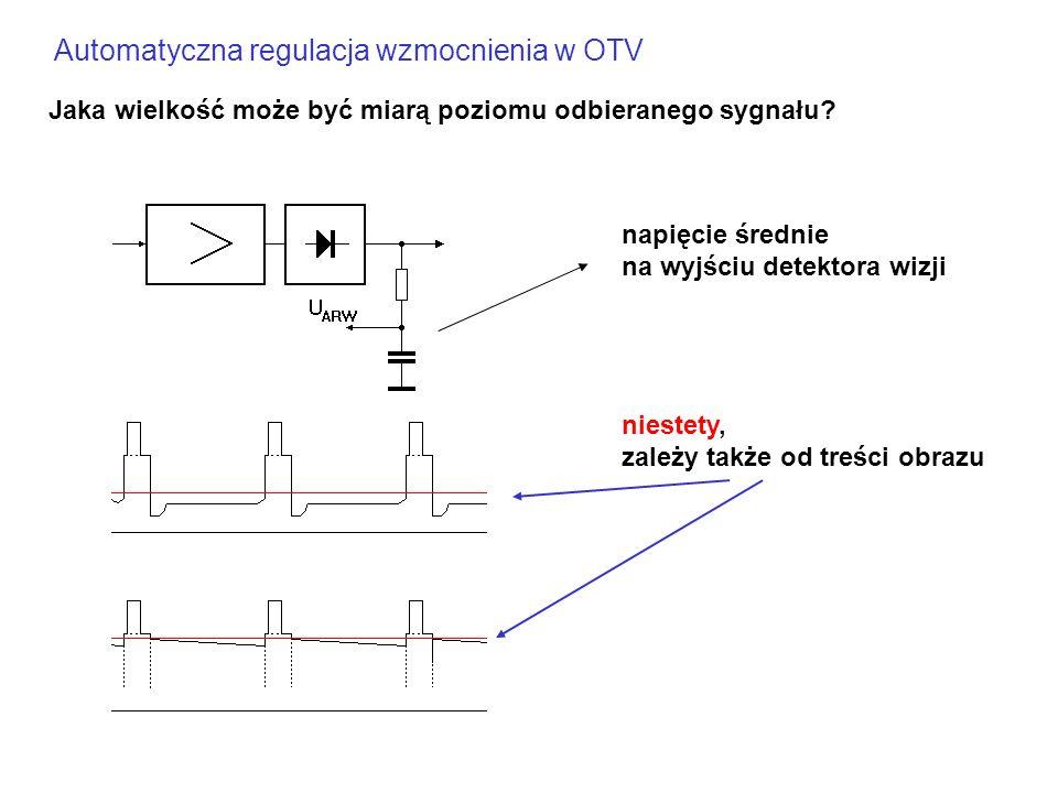 Automatyczna regulacja wzmocnienia w OTV Jaka wielkość może być miarą poziomu odbieranego sygnału? napięcie średnie na wyjściu detektora wizji niestet
