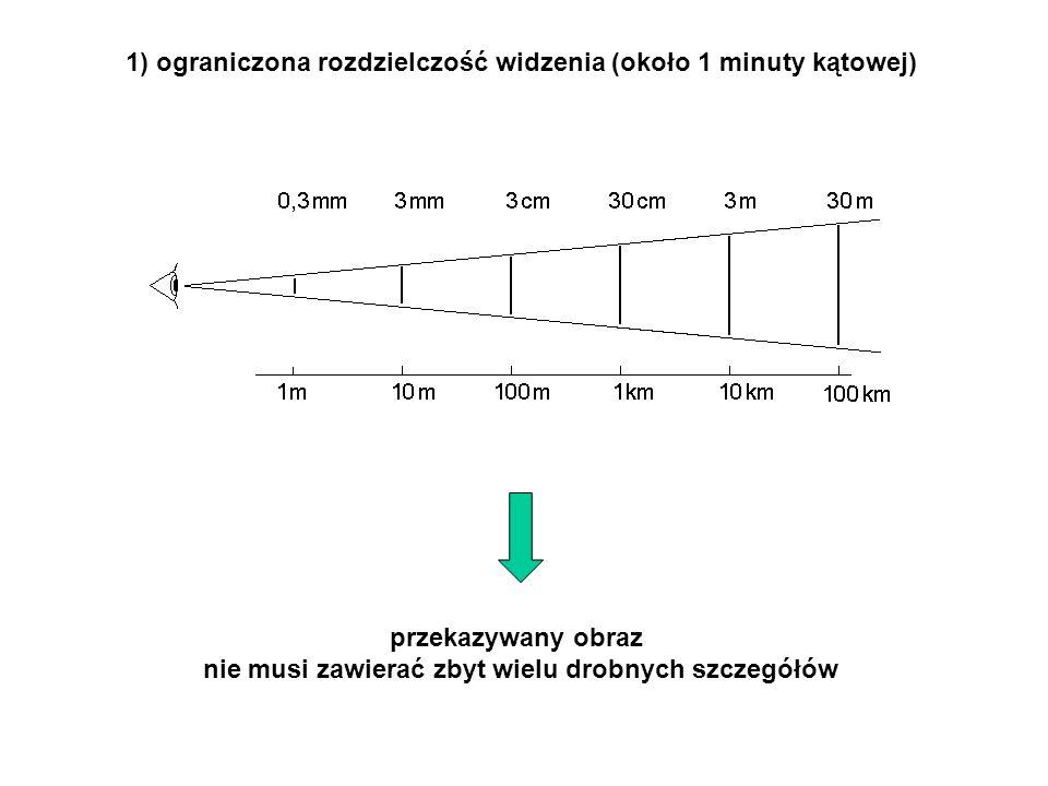 1) ograniczona rozdzielczość widzenia (około 1 minuty kątowej) przekazywany obraz nie musi zawierać zbyt wielu drobnych szczegółów