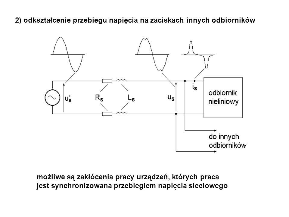 2) odkształcenie przebiegu napięcia na zaciskach innych odbiorników możliwe są zakłócenia pracy urządzeń, których praca jest synchronizowana przebiegiem napięcia sieciowego
