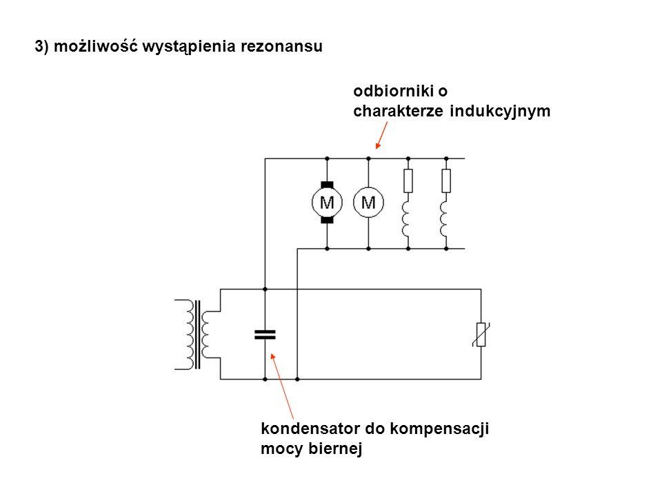 odbiorniki o charakterze indukcyjnym kondensator do kompensacji mocy biernej 3) możliwość wystąpienia rezonansu