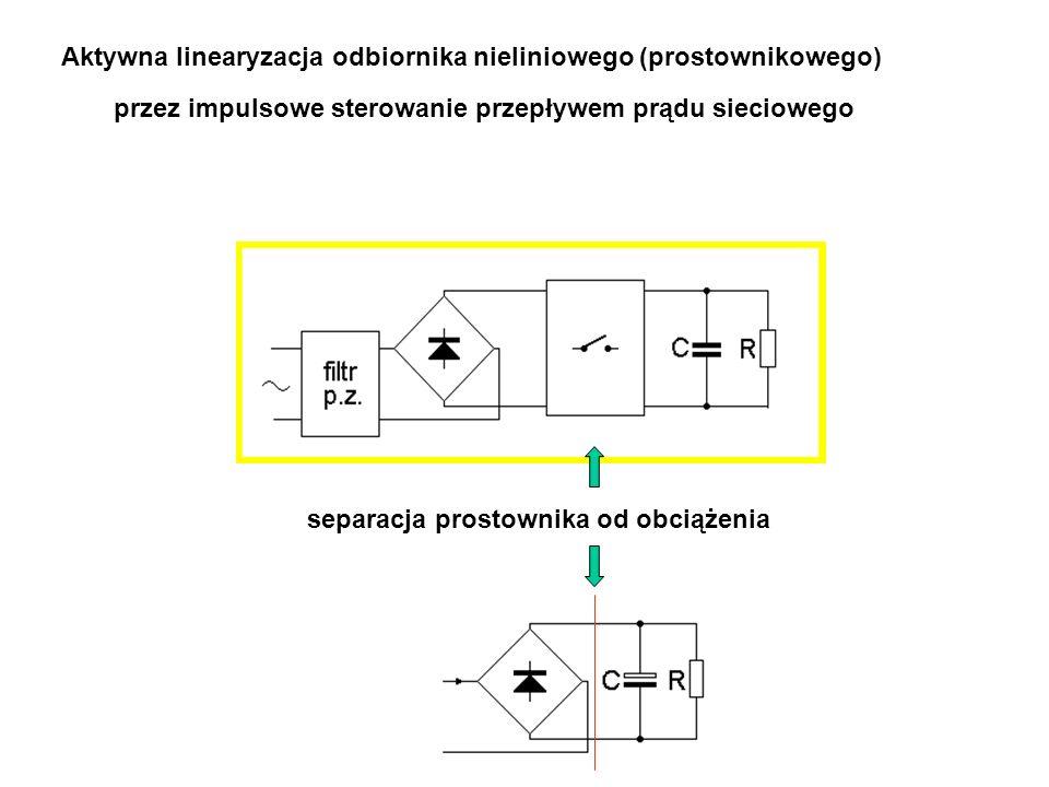 przez impulsowe sterowanie przepływem prądu sieciowego Aktywna linearyzacja odbiornika nieliniowego (prostownikowego) separacja prostownika od obciążenia