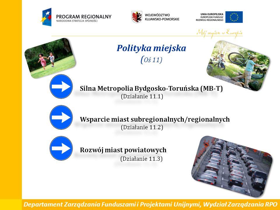 Departament Zarządzania Funduszami i Projektami Unijnymi, Wydział Zarządzania RPO Polityka miejska ( Oś 11) Silna Metropolia Bydgosko-Toruńska (MB-T) (Działanie 11.1) Wsparcie miast subregionalnych/regionalnych (Działanie 11.2) Rozwój miast powiatowych (Działanie 11.3) Silna Metropolia Bydgosko-Toruńska (MB-T) (Działanie 11.1) Wsparcie miast subregionalnych/regionalnych (Działanie 11.2) Rozwój miast powiatowych (Działanie 11.3)