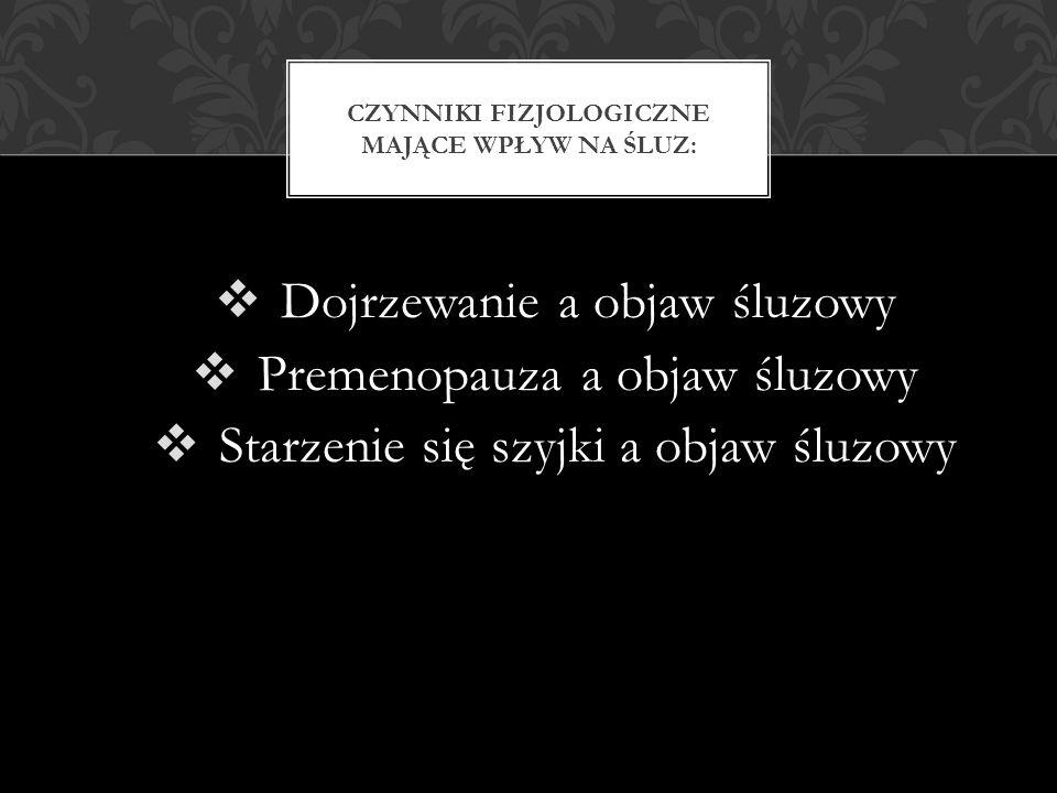  Dojrzewanie a objaw śluzowy  Premenopauza a objaw śluzowy  Starzenie się szyjki a objaw śluzowy CZYNNIKI FIZJOLOGICZNE MAJĄCE WPŁYW NA ŚLUZ: