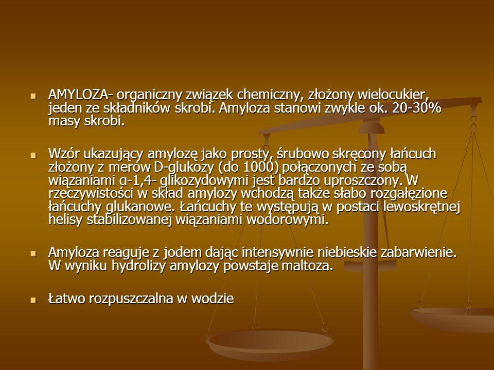 AMYLOZA- organiczny związek chemiczny, złożony wielocukier, jeden ze składników skrobi. Amyloza stanowi zwykle ok. 20-30% masy skrobi. AMYLOZA- organi