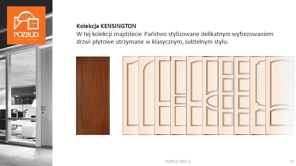 POZBUD T&R S.A.10 Kolekcja KENSINGTON W tej kolekcji znajdziecie Państwo stylizowane delikatnym wyfrezowaniem drzwi płytowe utrzymane w klasycznym, subtelnym stylu.