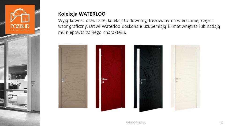 POZBUD T&R S.A.12 Kolekcja WATERLOO Wyjątkowość drzwi z tej kolekcji to dowolny, frezowany na wierzchniej części wzór graficzny. Drzwi Waterloo doskon