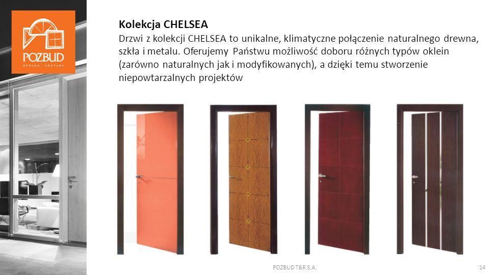 POZBUD T&R S.A.14 Kolekcja CHELSEA Drzwi z kolekcji CHELSEA to unikalne, klimatyczne połączenie naturalnego drewna, szkła i metalu. Oferujemy Państwu