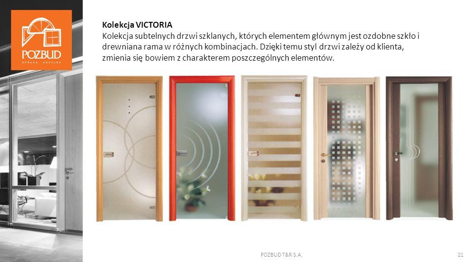 POZBUD T&R S.A.21 Kolekcja VICTORIA Kolekcja subtelnych drzwi szklanych, których elementem głównym jest ozdobne szkło i drewniana rama w różnych kombi