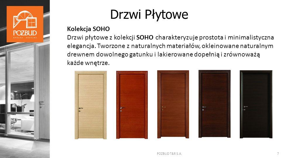 POZBUD T&R S.A.7 Kolekcja SOHO Drzwi płytowe z kolekcji SOHO charakteryzuje prostota i minimalistyczna elegancja. Tworzone z naturalnych materiałów, o