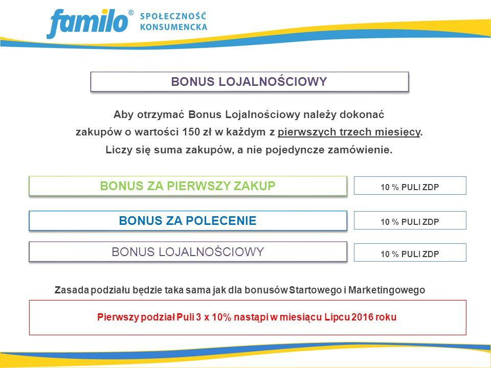Aby otrzymać Bonus Lojalnościowy należy dokonać zakupów o wartości 150 zł w każdym z pierwszych trzech miesięcy. Liczy się suma zakupów, a nie pojedyn
