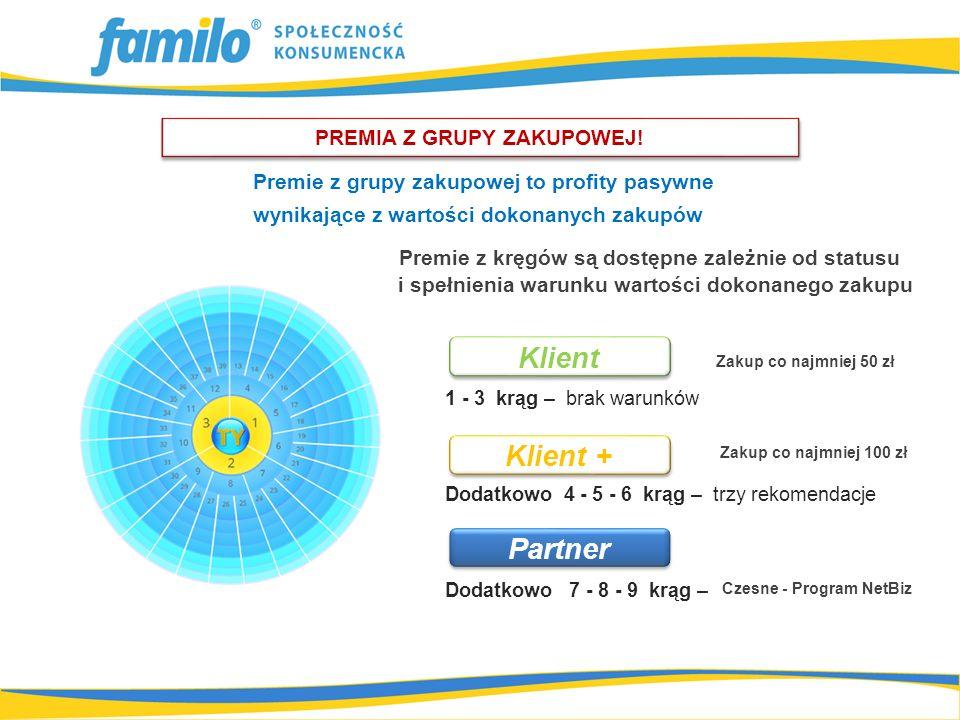 1 - 3 krąg – brak warunków Dodatkowo 4 - 5 - 6 krąg – trzy rekomendacje Dodatkowo 7 - 8 - 9 krąg – Premie z grupy zakupowej to profity pasywne wynikające z wartości dokonanych zakupów Premie z kręgów są dostępne zależnie od statusu i spełnienia warunku wartości dokonanego zakupu Klient Partner PREMIA Z GRUPY ZAKUPOWEJ.