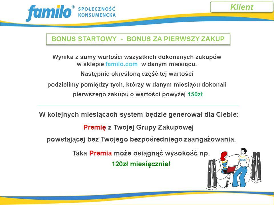 *Do obliczeń dla tego przykładu przyjęto: wartość miesięcznych zakupów 500 zł i ZDP 6 % - 30zł PREMIA Z GRUPY ZAKUPOWEJ.