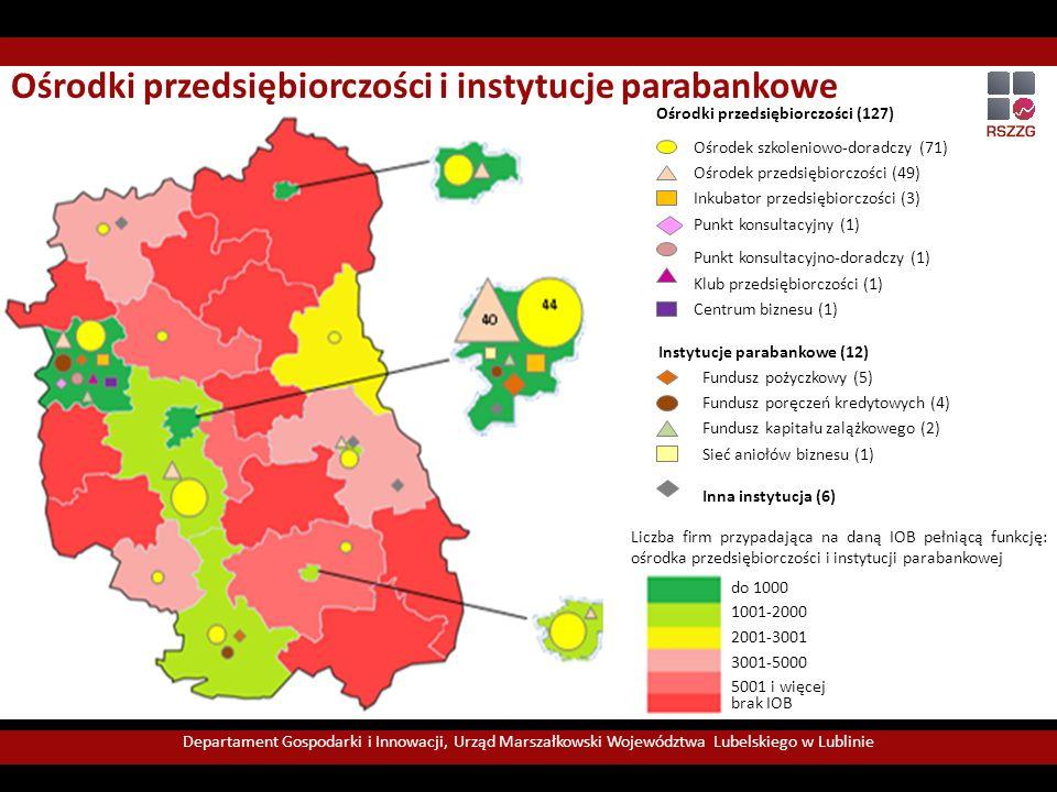 Departament Gospodarki i Innowacji, Urząd Marszałkowski Województwa Lubelskiego w Lublinie Usługi świadczone przez lubelskie instytucje otoczenia biznesu Ośrodki koncentrują się przede wszystkim w Lublinie.