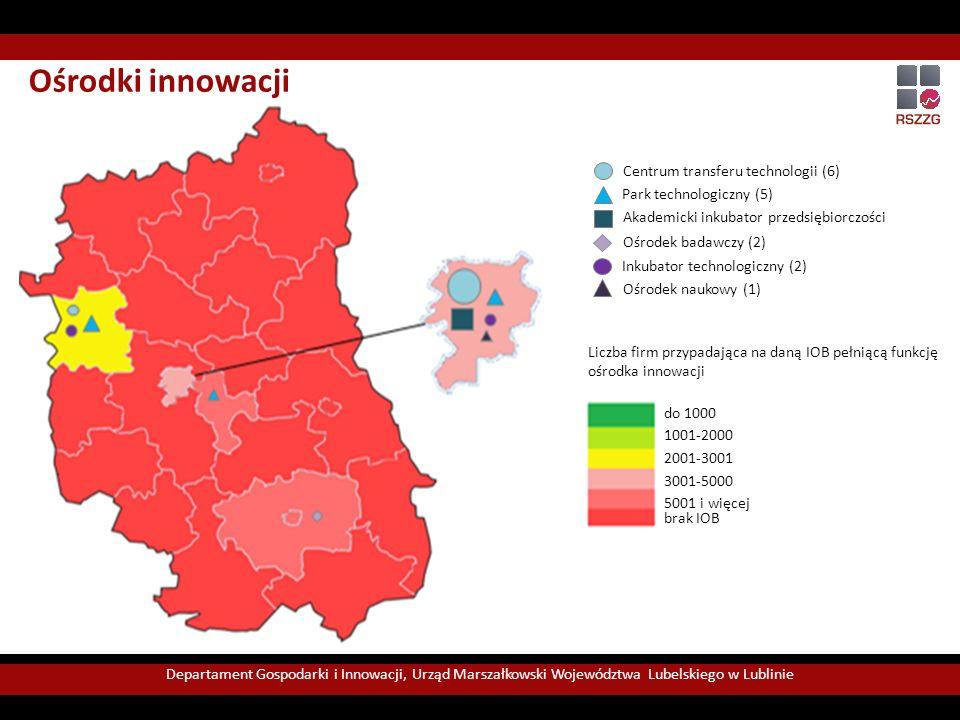 Ośrodki innowacji Centrum transferu technologii (6) Park technologiczny (5) Akademicki inkubator przedsiębiorczości (3) Ośrodek naukowy (1) Inkubator technologiczny (2) Ośrodek badawczy (2) Liczba firm przypadająca na daną IOB pełniącą funkcję ośrodka innowacji Departament Gospodarki i Innowacji, Urząd Marszałkowski Województwa Lubelskiego w Lublinie do 1000 1001-2000 2001-3001 3001-5000 5001 i więcej brak IOB