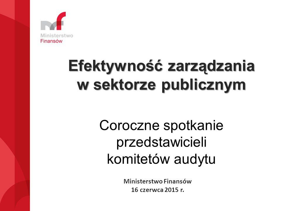 Efektywność zarządzania w sektorze publicznym Ministerstwo Finansów 16 czerwca 2015 r.